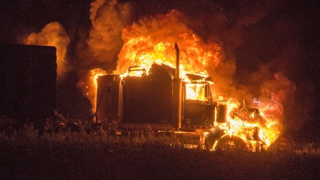 Fire engulfs cab portion of tractor trailer at Hwys  9, 400